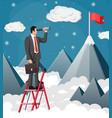 businessman looking for opportunities in spyglass vector image