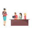 businesswoman on conference vector image vector image