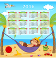 Calendar with monkey on hammock 2016 vector image