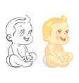 cartoon baby coloring page with colorful sample vector image