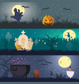 cartoon halloween horizontal banners vector image