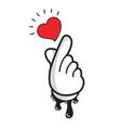cartoon hand making mini heart symbol vector image vector image