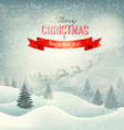 Christmas winter landscape background with santa vector image vector image