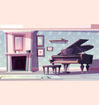 classic living room with piano cartoon vector image