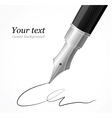 Close up of a fountain silver pen and signature vector image