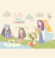 collection beautiful girls with summer flowers vector image