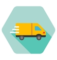 Delivery Van Flat Hexagon Icon with Long Shadow vector image vector image