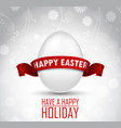 easter egg with a red ribbon on white background vector image