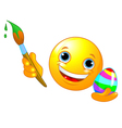 Emoticon coloring Easter Egg vector image vector image