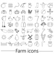 farm and farming big simple outline icons set vector image vector image