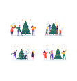 flat happy people decorating christmas tree vector image vector image