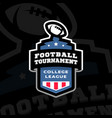 football college tournament emblem logo on a dark vector image vector image