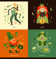 forest fairy tale characters concept icons set vector image