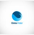 globe sphere water wave logo vector image