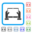 hands hold tablet framed icon vector image vector image