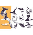 happy halloween line art objects collection for vector image