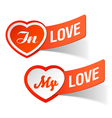 in love my love labels vector image vector image