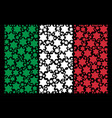 italy flag mosaic of six pointed star icons vector image vector image
