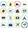 journey icons set with suitcase departure suv vector image