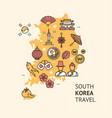 korea travel banner card with map vector image vector image