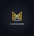m initial triangle abstract company gold logo vector image vector image