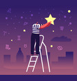 male character stand on ladder put star on night vector image vector image