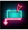 neon sign with arrow and glowing light background vector image vector image