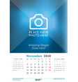 november 2018 wall monthly calendar for 2018 year vector image vector image