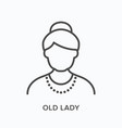 old lady flat line icon outline vector image