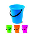 plastic bucket bucketful different colors vector image vector image