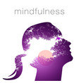 profile of a woman with mindfulness vector image vector image
