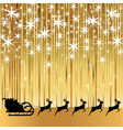 Santa Claus rides in a sleigh with reindeer vector image