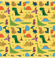 seamless pattern with cartoon funny dinosaurs vector image