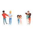 set different families with kids homosexual vector image vector image
