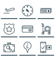 set of 9 travel icons includes plastic card vector image