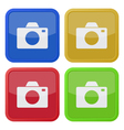 set of four square icons with camera vector image vector image