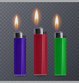 set of realistic cigar lighters in transparent vector image