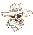 skull in a hat cowboy wild west theme vector image vector image