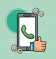 smartphone telephone hand like customer service vector image vector image