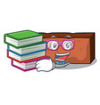 student with book brick mascot cartoon style vector image