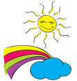 Sun clouds with a rainbow on a white background vector image
