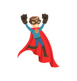 superhero boy character dressed in blue costume vector image