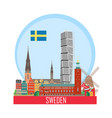 sweden background with national attractions vector image vector image