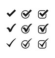 three black check mark icons in circles and vector image vector image