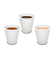 Three Kind of Coffee in Disposable Cups vector image vector image