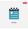 two color notepad icon from medical concept vector image