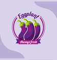 vegetable eggplant always fresh emblem vector image