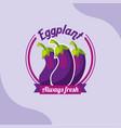 vegetable eggplant always fresh emblem vector image vector image