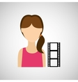 woman character film strip design vector image