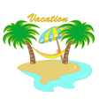 hammock between two palm trees vector image
